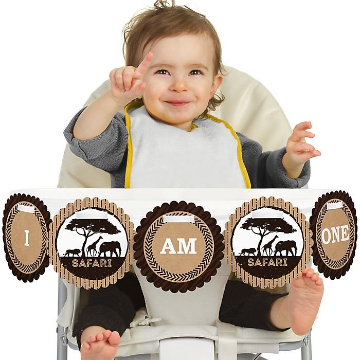 Wild Safari 1st Birthday - I am One - First Birthday High Chair African Jungle Adventure Birthday Banner