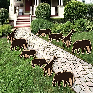 Wild Safari - Giraffe, Elephant, Lion and Rhino Lawn Decorations - Outdoor African Jungle Adventure Birthday Party or Baby Shower Yard Decorations - 10 Piece