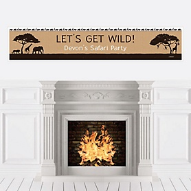 Wild Safari - Personalized African Jungle Adventure Birthday Party or Baby Shower Banner