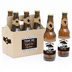 Wild Safari - Decorations for Women and Men - 6 African Jungle Adventure Birthday Party or Baby Shower Beer Bottle Label Stickers and 1 Carrier