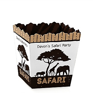 Wild Safari - Party Mini Favor Boxes - Personalized African Jungle Adventure Birthday Party or Baby Shower Treat Candy Boxes - Set of 12
