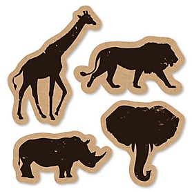 Wild Safari - DIY Shaped African Jungle Adventure Birthday Party or Baby Shower Cut-Outs - 24 ct