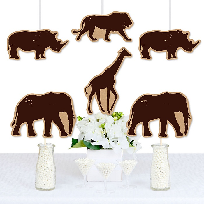 Wild Safari - Giraffe, Elephant, Lion and Rhino Decorations DIY African Jungle Adventure Birthday Party or Baby Shower Essentials - Set of 20
