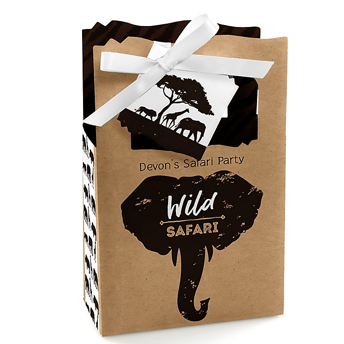 Wild Safari - Personalized African Jungle Adventure Birthday Party or Baby Shower Favor Boxes - Set of 12