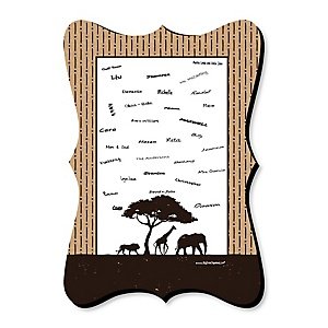 Wild Safari - Unique Alternative Guest Book - African Jungle Adventure Birthday Party or Baby Shower Signature Mat