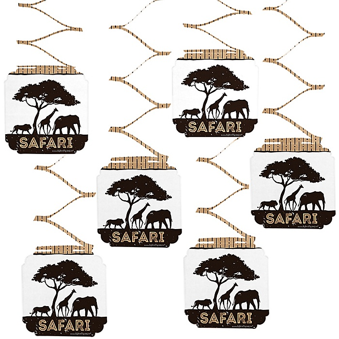 Wild Safari - African Jungle Adventure Birthday Party or Baby Shower Hanging Decorations - 6 ct