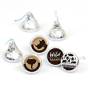 Wild Safari - African Jungle Adventure Birthday Party or Baby Shower Round Candy Sticker Favors - Labels Fit Hershey's Kisses (1 sheet of 108)