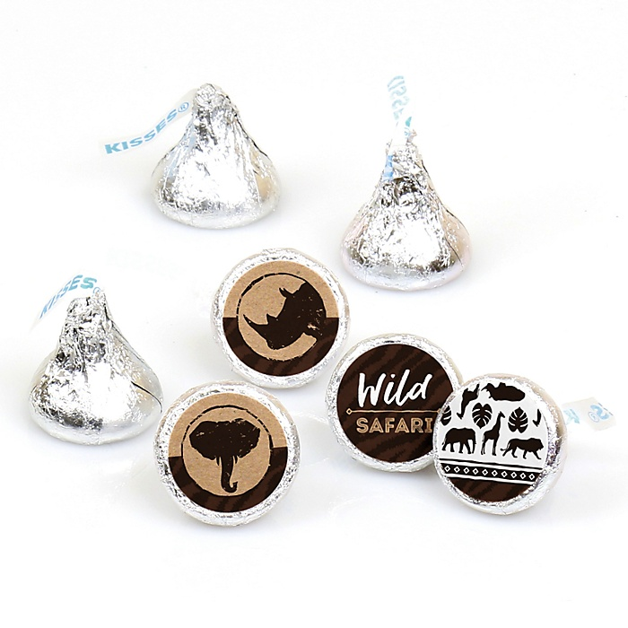 Wild Safari - African Jungle Adventure Birthday Party or Baby Shower Round Candy Sticker Favors - Labels Fit Hershey's Kisses  - 108 ct