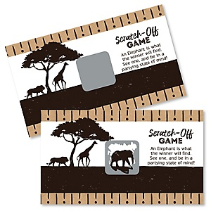 Wild Safari - African Jungle Adventure Birthday Party or Baby Shower Game Scratch Off Cards - 22 Count