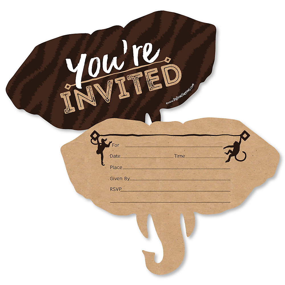 Wild Safari Shaped Fill In Invitations African Jungle Adventure Birthday Party Or Baby Shower Invitation Cards With Envelopes Set Of 12