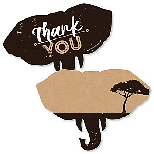 Wild Safari - Shaped Thank You Cards - African Jungle Adventure Birthday Party or Baby Shower Thank You Note Cards with Envelopes - Set of 12