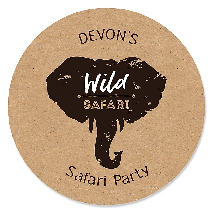 Wild Safari - Personalized African Jungle Adventure Birthday Party or Baby Shower Sticker Labels - 24 ct