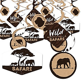 Wild Safari - African Jungle Adventure Birthday Party or Baby Shower Hanging Decor - Party Decoration Swirls - Set of 40