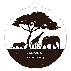 Wild Safari - Personalized African Jungle Adventure Birthday Party or Baby Shower Favor Gift Tags - 20 ct