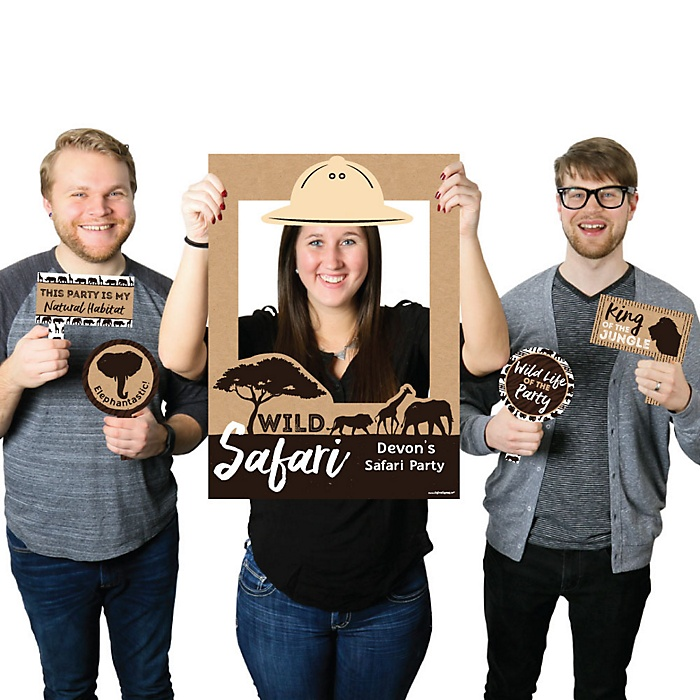 Wild Safari - Personalized African Jungle Adventure Birthday Party or Baby Shower Selfie Photo Booth Picture Frame & Props - Printed on Sturdy Material