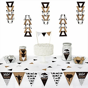 Wild Safari -  Triangle African Jungle Adventure Birthday Party or Baby Shower Decoration Kit - 72 Piece