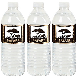Wild Safari - African Jungle Adventure Birthday Party or Baby Shower Water Bottle Sticker Labels - Set of 20