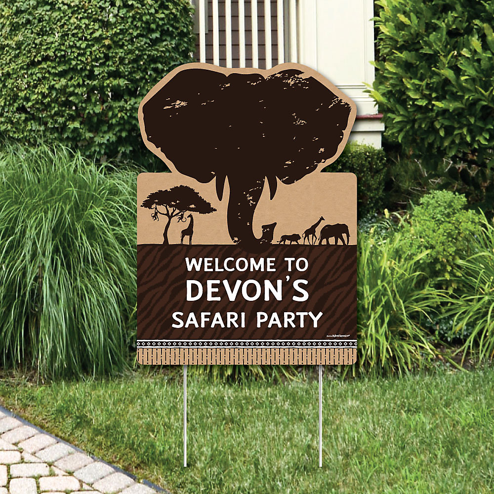834185917e7bb Wild Safari - Party Decorations - African Jungle Adventure Birthday Party  or Baby Shower Personalized Welcome. Double tap to zoom