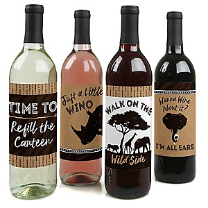 Wild Safari - African Jungle Adventure Birthday Party or Baby Shower Decorations for Women and Men - Wine Bottle Label Stickers - Set of 4