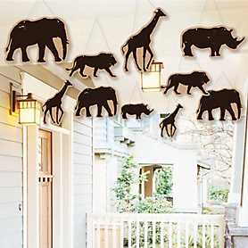 Hanging Wild Safari - Outdoor African Jungle Adventure Birthday Party or Baby Shower Hanging Porch & Tree Yard Decorations - 10 Pieces