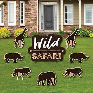 Wild Safari - Yard Sign & Outdoor Lawn Decorations - African Jungle Adventure Birthday Party or Baby Shower Yard Signs - Set of 8