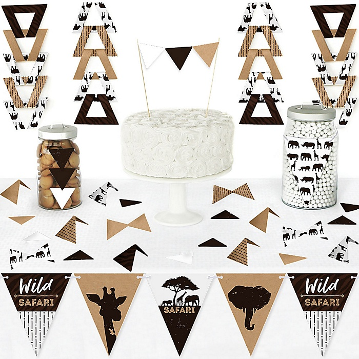 Wild Safari - DIY  Pennant Banner Decorations - African Jungle Adventure Birthday Party or Baby Shower Triangle Kit - 99 Pieces