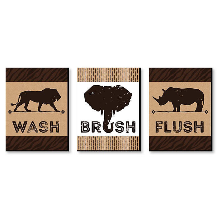 Wild Safari - Kids Bathroom Rules Wall Art - 7.5 x 10 inches - Set of 3 Signs - Wash, Brush, Flush
