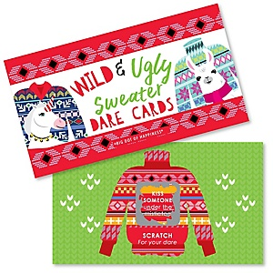 Wild and Ugly Sweater Party - Holiday and Christmas Animals Party Game Scratch Off Dare Cards - 22 Count