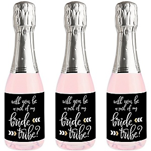 Will You Be a Part of My Bride Tribe - Mini Wine and Champagne Bottle Label Stickers - Will You Be My Bridesmaid Gift - Set of 16
