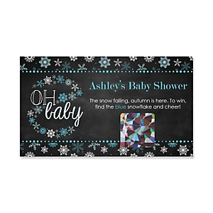 Oh Baby - Winter - Personalized Baby Shower Game Scratch Off Cards - 22 ct