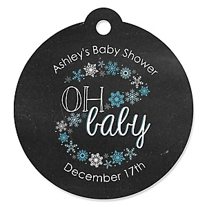 Oh Baby - Winter - Round Personalized Baby Shower Tags - 20 ct