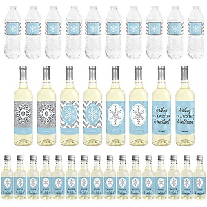 Winter Wonderland - Mini Wine Bottle Labels, Wine Bottle Labels and Water Bottle Labels - Snowflake Holiday Birthday Party and Baby Shower Decorations - Beverage Bar Kit - 34 Pieces