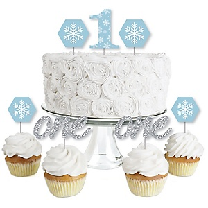 ONEderland - Dessert Cupcake Toppers - Holiday Snowflake Winter Wonderland Birthday Party Clear Treat Picks - Set of 24