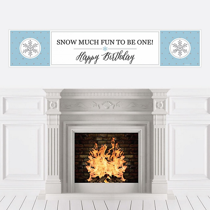 ONEderland - Holiday Snowflake Winter Wonderland Birthday Party Decorations Party Banner