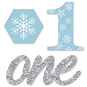 ONEderland - DIY Shaped Holiday Snowflake Winter Wonderland Birthday Party Cut-Outs - 24 ct