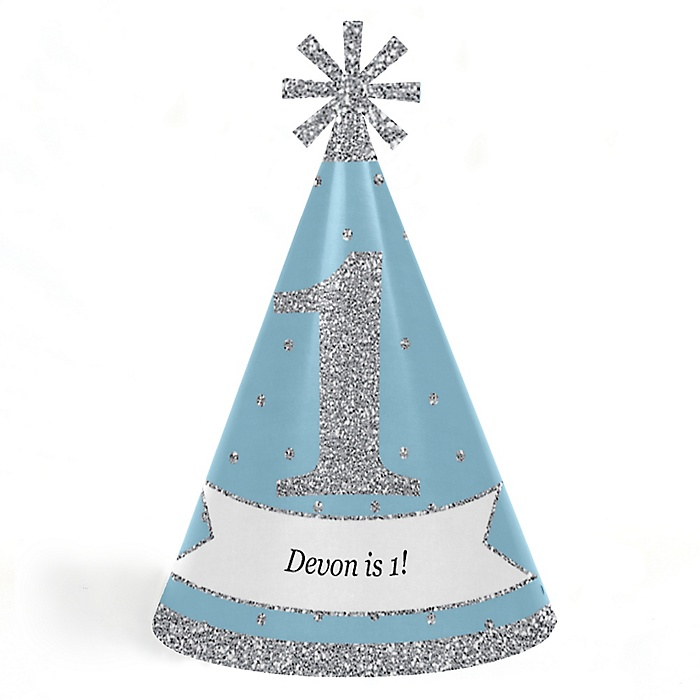 ONEderland - Personalized Cone Winter Wonderland Happy Birthday Party Hats for Kids and Adults - Set of 8 (Standard Size)