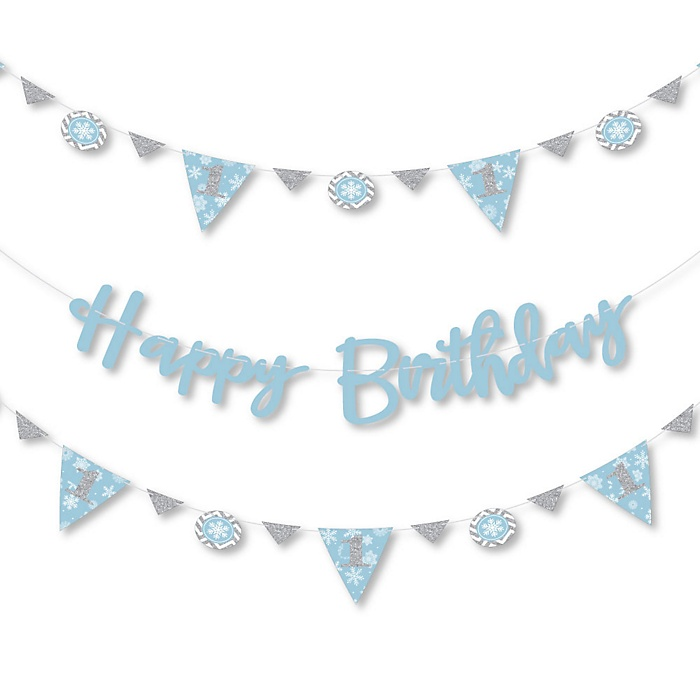 ONEderland - Holiday Snowflake Winter Wonderland Birthday Party Letter Banner Decoration - 36 Banner Cutouts and Happy Birthday Banner Letters