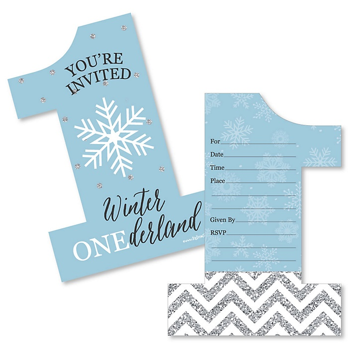 ONEderland - Shaped Fill-In Invitations - Holiday Snowflake Winter Wonderland Birthday Party Invitation Cards with Envelopes - Set of 12