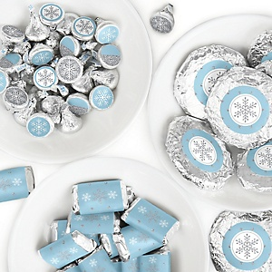 Winter Wonderland - Mini Candy Bar Wrappers, Round Candy Stickers and Circle Stickers - Snowflake Holiday Party and Winter Wedding Candy Favor Sticker Kit - 304 Pieces