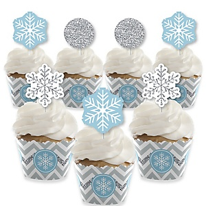 Winter Wonderland - Cupcake Decoration - Snowflake Holiday Birthday Party and Baby Shower Cupcake Wrappers and Treat Picks Kit - Set of 24