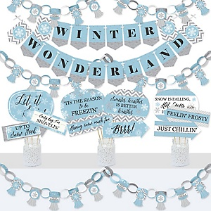 Winter Wonderland - Banner and Photo Booth Decorations - Snowflake Holiday Birthday Party and Baby Shower Supplies Kit - Doterrific Bundle