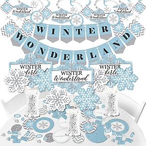 Winter Wonderland - Snowflake Holiday Party and Winter Wedding Supplies - Banner Decoration Kit - Fundle Bundle