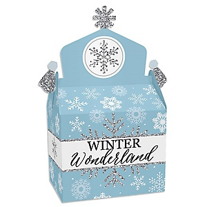 Winter Wonderland - Treat Box Party Favors - Snowflake Holiday Birthday Party and Baby Shower Goodie Gable Boxes - Set of 12