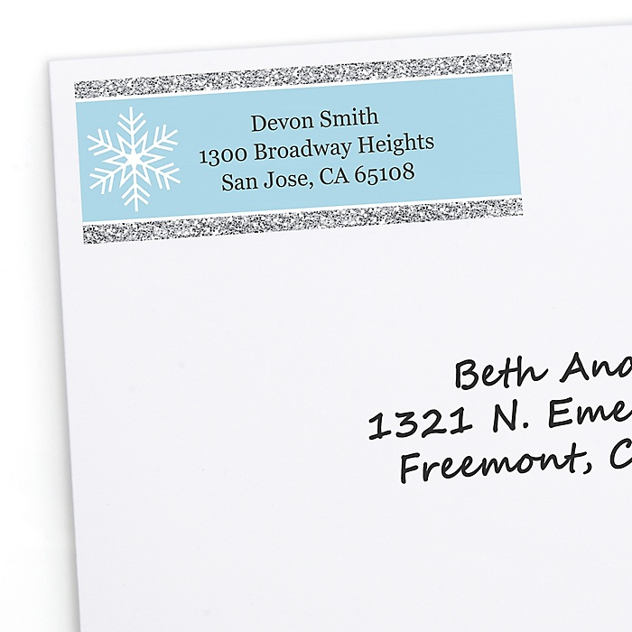 Winter Wonderland - 30 Personalized Snowflake Holiday Party & Winter Wedding Return Address Labels