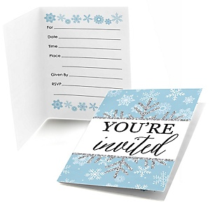 Winter Wonderland - Fill In Snowflake Holiday Party & Winter Wedding Invitations