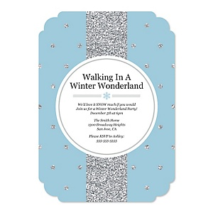 Winter Wonderland - Shaped Snowflake Holiday Party & Winter Wedding Invitations - Set of 12