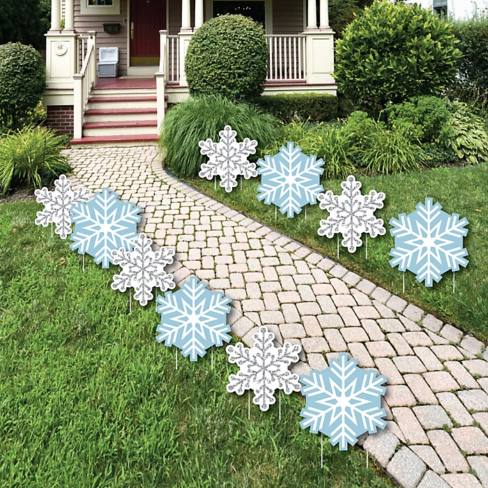 Winter Wonderland - Snowflake Lawn Decorations - Outdoor Snowflake Holiday Party & Winter Wedding Yard Decorations - 10 Piece