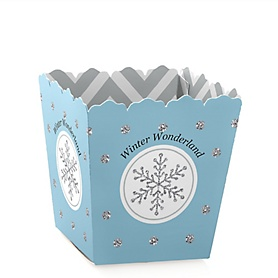 Winter Wonderland - Snowflake Holiday Party & Winter Wedding Treat Candy Boxes - Set of 12