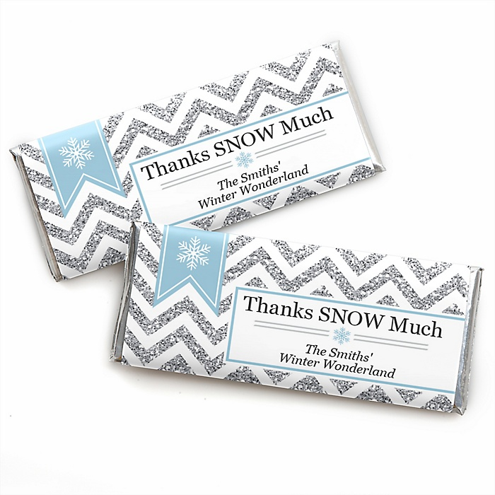 Winter Wonderland - Personalized Candy Bar Wrappers Snowflake Holiday Party & Winter Wedding Favors - Set of 24