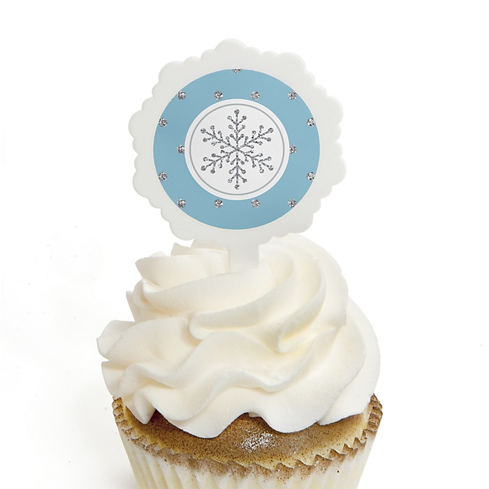 Winter Wonderland - Snowflake Holiday Party & Winter Wedding Cupcake Pick and Sticker Kit - 12 ct